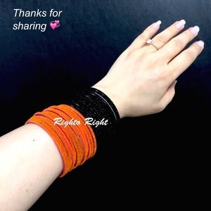 Velvet Glitter Glass Bangles Colorful Dark Orange